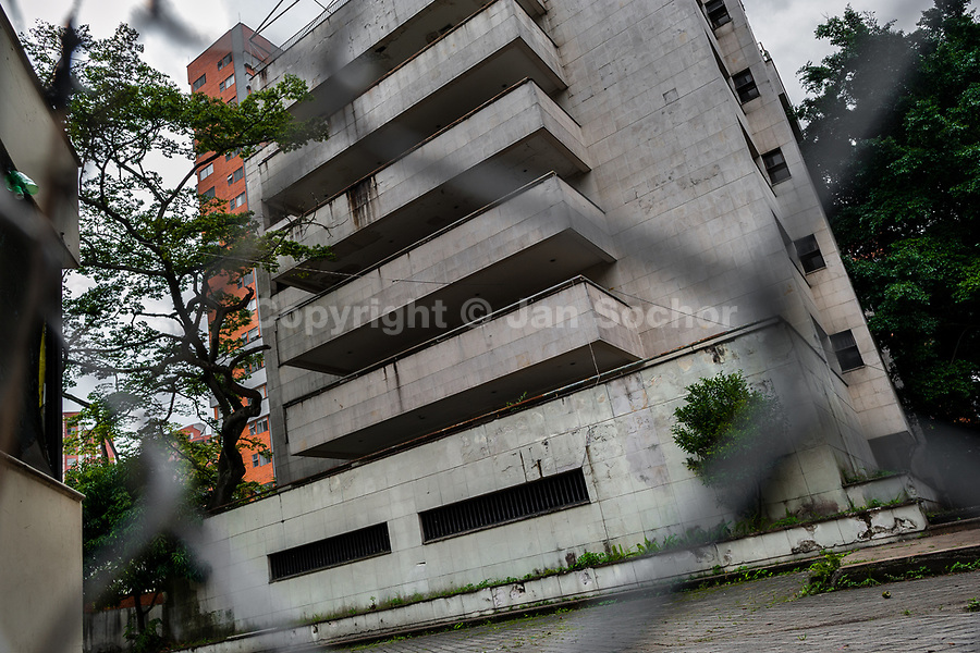"""Edificio Monaco, a five-story luxury apartment house where the drug lord Pablo Escobar lived with his family, is seen abandoned in Medellín, Colombia, 2 December 2017. Twenty five years after Pablo Escobar's death, the legacy of the Medellín Cartel leader is alive and flourishing. Although many Colombians who lived through the decades of drug wars, assassinations, kidnappings, reject Pablo Escobar's cult and his celebrity status, there is a significant number of Colombians who admire him, worshipping the questionable """"Robin Hood"""" image he had. Moreover, in the recent years, the popular """"Narcos"""" TV series has inspired thousands of tourists to visit Medellín, creating a booming business for many but causing a controversial rise of narco-tourism."""