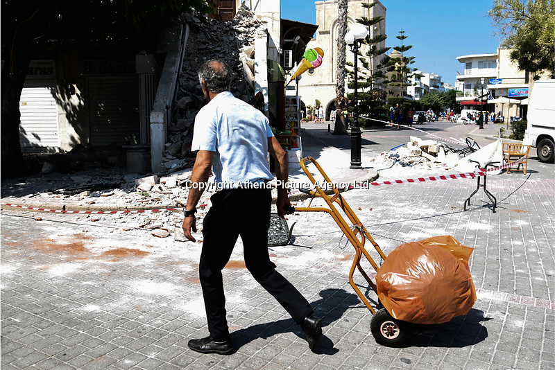 Pictured: Part of a building the old town has suffered severe damage in Kos town, Greece.<br /> Re: A 6.4 Richter Scale earthquake has hit the tourist island of Kos in Greece.