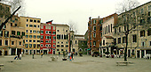 Venice, Italy - March 24, 2006 -- Wide view of the square of the Campo de Gheto Novo, the Jewish Ghetto, in Venice, Italy on March 24, 2006.  Jews were gathered for deportation in the square by the Nazis. .Credit: Ron Sachs / CNP
