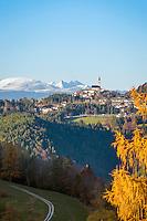 Italy, Alto Adige-Trentino (South Tyrol), Aldino: comune at the South Tyrolean Lowlands, at background Texel Group, Weisskugel mountain and Oetztal Alps   Italien, Suedtirol (Alto Adige-Trentino), Aldein: Gemeinde im Suedtiroler Unterland auf dem Hochplateau des Regglberges mit Texelgruppe, Weisskugel und Oetztaler Alpen im Hintergrund