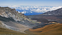 The forces of erosion have created a spectacular wilderness landscape in HALEAKALA NATIONAL PARK on Maui in Hawai that is as dangerous as it is beautifui