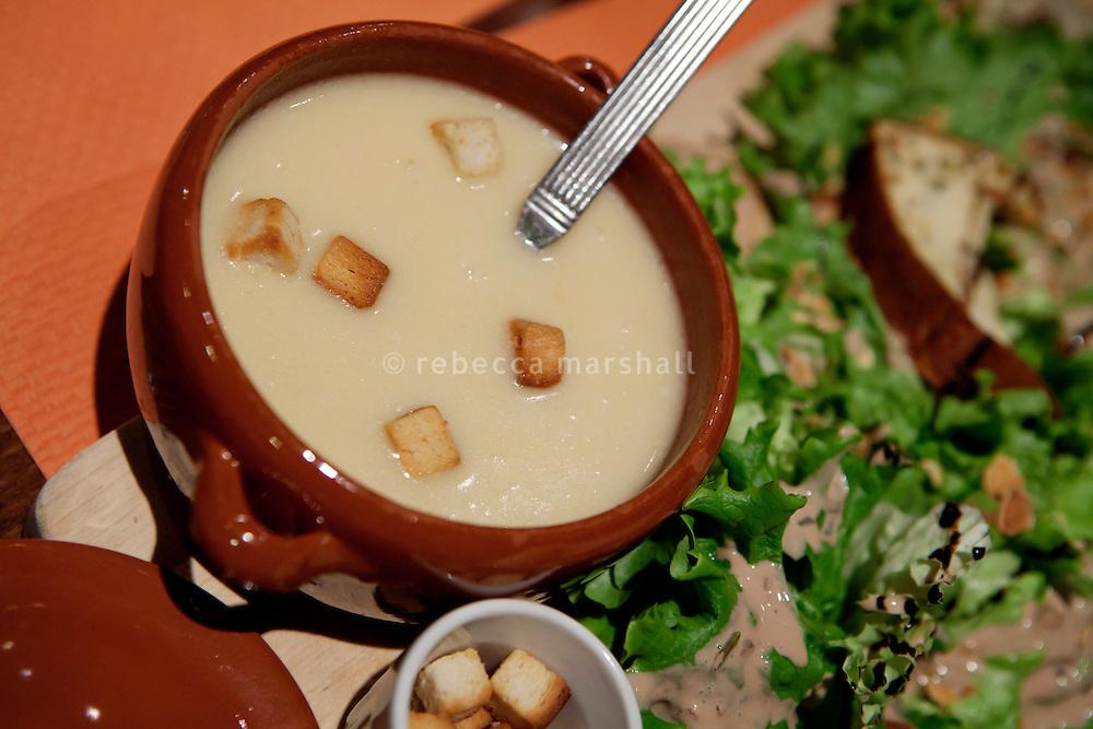 Soupe de Beaufort served at the restaurant l'Auberge d'Oul, Bonneval sur Arc, Savoie, France, 16 February 2012.