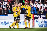 Uppsala 2014-05-01 Fotboll Svenska Cupen IK Sirius - IF Elfsborg :  <br /> Elfsborgs Viktor Prodell har gjort 3-0 och gratuleras av Elfsborgs Johan Larsson och Elfsborgs Anders Svensson <br /> (Foto: Kenta J&ouml;nsson) Nyckelord:  Svenska Cupen Cup Semifinal Semi Sirius IKS Elfsborg IFE jubel gl&auml;dje lycka glad happy