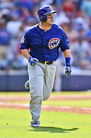 Chicago Cubs catcher Miguel Montero (47) rounds the bases after hitting a home run during a game against the Atlanta Braves at Turner Field on June 11, 2016 in Atlanta, Georgia. The Cubs defeated the Braves 8-2. (Tony Farlow/Four Seam Images)