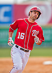5 March 2016: Washington Nationals infielder Scott Sizemore rounds the bases after hitting a solo home-run in the 6th inning to take the lead 5-4 during a Spring Training pre-season game against the Detroit Tigers at Space Coast Stadium in Viera, Florida. The Nationals defeated the Tigers 8-4 in Grapefruit League play. Mandatory Credit: Ed Wolfstein Photo *** RAW (NEF) Image File Available ***