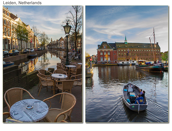 Netherlands, Leiden.  <br /> Add some foreground to improve your imagery.<br /> Even small areas of white, like these tabletops, add brightness to a shady scene (left).<br /> The top half of the right photo can stand by itself as a Dutch scenic for a calendar, but lots of people might shoot it. Here, I included a 'stage' for boats to pass-by. After 5 to 10 minutes I have quite a variety of truly unique images.<br /> Canals at sunset in Leiden, the Netherlands.