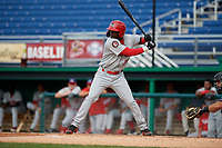Auburn Doubledays Caldioli Sanfler (31) at bat during a NY-Penn League game against the Batavia Muckdogs on June 19, 2019 at Dwyer Stadium in Batavia, New York.  Batavia defeated Auburn 5-4 in eleven innings in the completion of a game originally started on June 15th that was postponed due to inclement weather.  (Mike Janes/Four Seam Images)