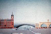 London: St. Pancras--King's Cross Scheme, Elevation. Foster Assoc., ARCH. RECORD, Jan. '89, p. 43.