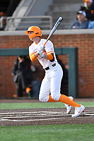 University of Tennessee Liam Spence (4) swings at a pitch during a game against Western Illinois at Lindsey Nelson Stadium on February 15, 2020 in Knoxville, Tennessee. The Volunteers defeated Leathernecks 19-0. (Tony Farlow/Four Seam Images)