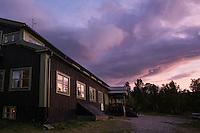 Sunset at STF Saltoluokta Fjällstation, Kungsleden trail, Lapland, Sweden
