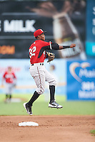 Carolina Mudcats second baseman Erison Mendez (32) throws to first base during a game against the Frederick Keys on June 4, 2016 at Nymeo Field at Harry Grove Stadium in Frederick, Maryland.  Frederick defeated Carolina 5-4 in eleven innings.  (Mike Janes/Four Seam Images)