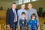 Newly elected Cllr Brendan Fitzgerald standing with  Dermot (Weeshie) Lynch, Brendan Falvey, Jack Lynch and Lily Falvey at the count centre in Tralee on Saturday afternoon.