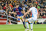 Sergi Roberto of FC Barcelona (L) looks to bring the ball down during the La Liga 2017-18 match between FC Barcelona and Deportivo La Coruna at Camp Nou Stadium on 17 December 2017 in Barcelona, Spain. Photo by Vicens Gimenez / Power Sport Images