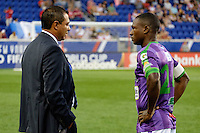 Harrison, NJ - Wednesday Aug. 03, 2016: Mauricio Tapia, Roberto Pena during a CONCACAF Champions League match between the New York Red Bulls and Antigua at Red Bull Arena.