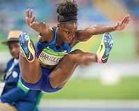 USA Tiana Bartoletta performs her final jump winning gold in the Rio2016 Olympics. <br /> Rio de Janeiro, Brazil on August 17, 2016.<br /> CAP/CAM<br /> &copy;Andre Camara/Capital Pictures /MediaPunch ***NORTH AMERICAS ONLY***
