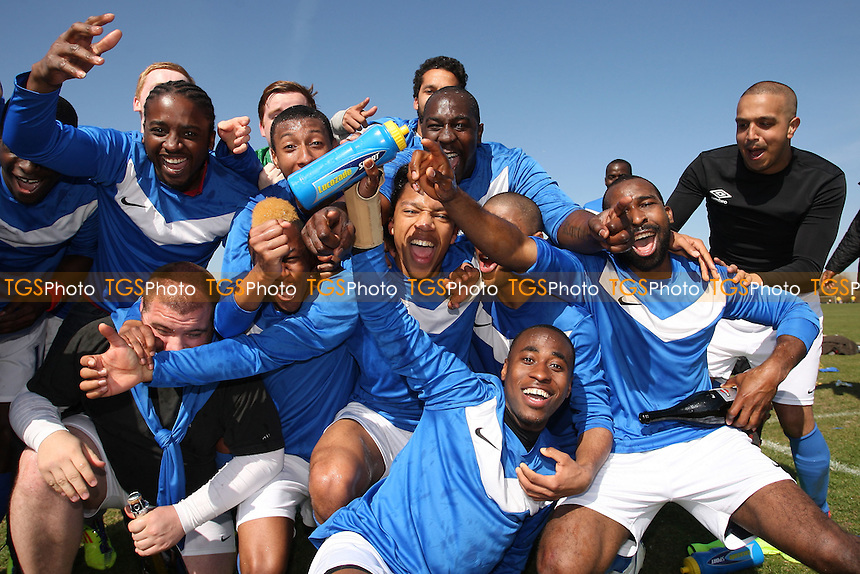 FC Bartlett celebrate winning the Division One title - Hackney & Leyton Sunday League Football at South Marsh, Hackney Marshes, London - 01/04/12 - MANDATORY CREDIT: Gavin Ellis/TGSPHOTO - Self billing applies where appropriate - 0845 094 6026 - contact@tgsphoto.co.uk - NO UNPAID USE.