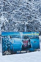 Europe/Finlande/Laponie:Env de Levi/Pöntsö: Peinture de Reijo Raekallio célèbrant les températures extrèmes de la Laponie à Pokka - Raekallio Galerie d'Art,  Chambre et Table d'Hôte