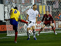Oguchi Onyewu (5) of the USMNT blocks a shot by Juan David Valencia (6) of Colombia during an international friendly at PPL Park in Chester, PA.  The U.S. tied Columbia, 0-0.