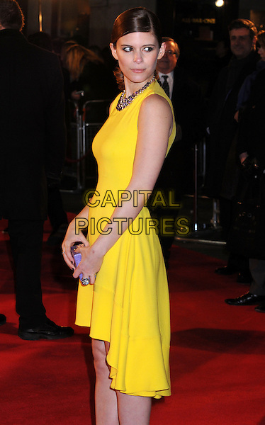 Kate Mara.'House of Cards'  Netflix Gala Screening at the Odeon West End, Leicester Square, London, UK, .January 17th 2012..half length yellow dress back over side  sleeveless necklace purple clutch bag .CAP/PP/BK.©Bob Kent/PP/Capital Pictures.