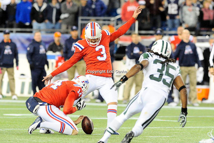 October 21, 2012 New England Patriots kicker Stephen Gostkowski (3) kicks a field goal in overtime during the New England Patriots vs New York Jets game played at Gillette Stadium in Foxborough, Massachusetts.   Eric Canha/CSM
