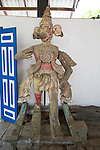 Wooden antique cultural figures courtyard cafe in Barefoot shop, Colombo, Sri Lanka, Asia
