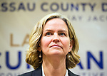 Uniondale, New York, USA. January 30, 2017. Nassau County Legislator LAURA CURRAN (D-Baldwin), 48, candidate for Nassau County Executive, receives endorsement from Democratic Party leaders. A primary is expected.