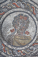 Spring, medallion from the Roman mosaic of the Four Seasons, in the dining room of the House of Dionysos, 3rd century AD, Volubilis, Northern Morocco. Volubilis was founded in the 3rd century BC by the Phoenicians and was a Roman settlement from the 1st century AD. Volubilis was a thriving Roman olive growing town until 280 AD and was settled until the 11th century. The buildings were largely destroyed by an earthquake in the 18th century and have since been excavated and partly restored. Volubilis was listed as a UNESCO World Heritage Site in 1997. Picture by Manuel Cohen