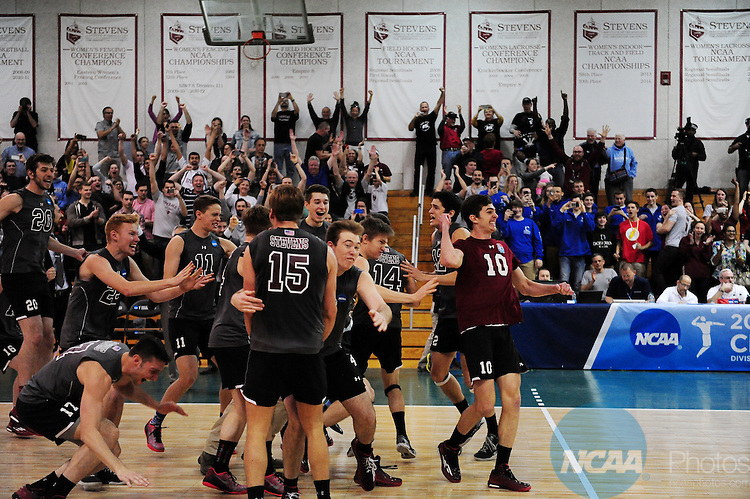 26 Apr 2015:  Members of the Stevens Institute of Technology Ducks celebrate winning the Division III Men's Volleyball Championship at Canavan Arena in Hoboken, NJ. Stevens Institute defeated Springfield College 3-0 to win the national title.  Porter Binks/NCAA Photos