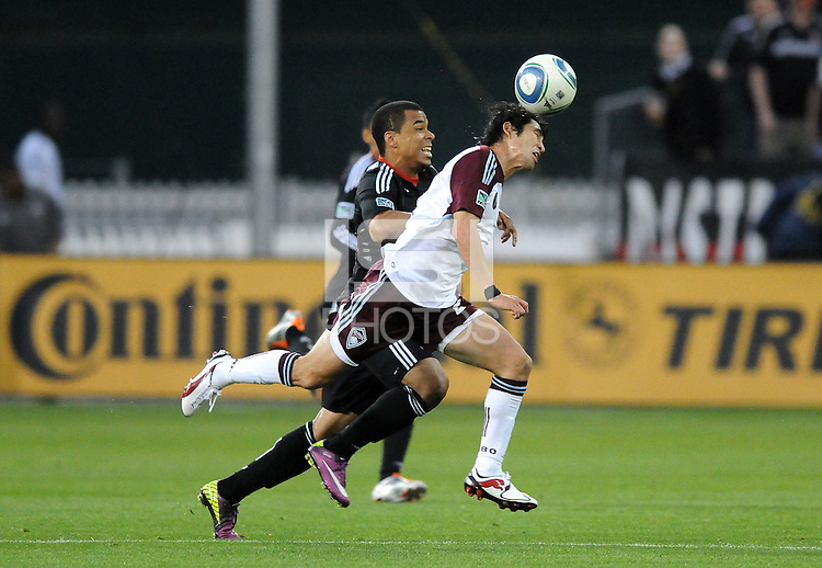 Colorado Rapids defender Kosuke Kimura (27) heads the ball against DC United forward Charlie Davies (9)   DC United tied The Colorado Rapids 1-1, at RFK Stadium, Saturday  May 14, 2011.