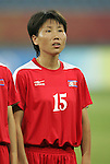 09 August 2008: Sonu Kyong Sun (PRK).  The women's Olympic soccer team of Brazil defeated the women's Olympic soccer team of North Korea 2-1 at Shenyang Olympic Sports Center Wulihe Stadium in Shenyang, China in a Group F round-robin match in the Women's Olympic Football competition.