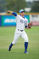 Burlington Royals pitcher Chase Darhower (28) warms up in the outfield prior to the game against the Bluefield Blue Jays at Burlington Athletic Park on July 1, 2015 in Burlington, North Carolina.  The Royals defeated the Blue Jays 5-4. (Brian Westerholt/Four Seam Images)