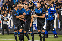 San Jose, CA - Tuesday June 11, 2019:  Cade Cowell #44, Luis Felipe #96 and Jimmy Ockford #15 celebrate the goal of  Vako Qazaishvili #11, during the US Open Cup match between the San Jose Earthquakes and Sacramento Republic FC at Avaya Stadium.