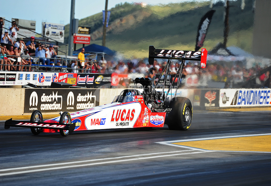 Jul. 23, 2011; Morrison, CO, USA: NHRA top fuel dragster driver Shawn Langdon during qualifying for the Mile High Nationals at Bandimere Speedway. Mandatory Credit: Mark J. Rebilas-