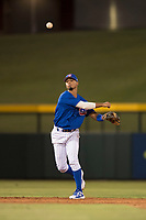 AZL Cubs 1 shortstop Josue Huma (13) throws to first base during an Arizona League game against the AZL Diamondbacks at Sloan Park on June 18, 2018 in Mesa, Arizona. AZL Diamondbacks defeated AZL Cubs 1 7-0. (Zachary Lucy/Four Seam Images)