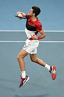 11th January 2020; Sydney Olympic Park Tennis Centre, Sydney, New South Wales, Australia; ATP Cup Australia, Sydney, Day 9; Serbia versus Russia;  Novak Djokovic versus Daniil Medvedev; Novak Djokovic of Serbia follows through on a forehand return against Daniil Medvedev of Russia - Editorial Use