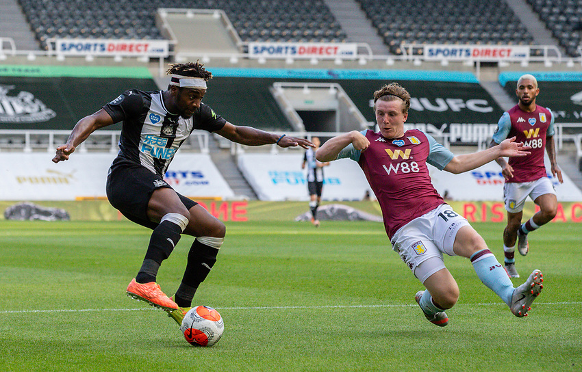 Newcastle United's Allan Saint-Maximin battles with Aston Villa's Matt Targett<br /> <br /> Photographer Alex Dodd/CameraSport<br /> <br /> The Premier League - Newcastle United v Aston Villa - Wednesday 24th June 2020 - St James' Park - Newcastle <br /> <br /> World Copyright © 2020 CameraSport. All rights reserved. 43 Linden Ave. Countesthorpe. Leicester. England. LE8 5PG - Tel: +44 (0) 116 277 4147 - admin@camerasport.com - www.camerasport.com