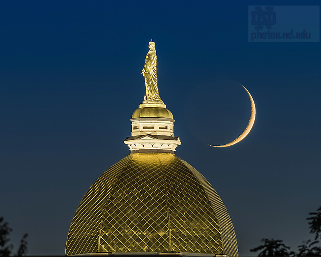 Sept. 15, 2015; Dome and crescent moon (Photo by Matt Cashore/University of Notre Dame)
