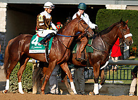 "October 07, 2018 : #4 Eskimo Kisses and jockey Jose Ortiz in the 63rd running of The Juddmonte Spinster (Grade 1) $500,000 ""Win and You're In Breeders' Cup Distaff Division"" at Keeneland Race Course on October 07, 2018 in Lexington, KY.  Candice Chavez/ESW/CSM"