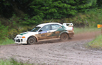 Rory Young / Alan Cathers have a massive overshoot at Junction 12 on Special Stage 2 Windy Hill of the 2012 RSAC Scottish Rally supported by Dumfries and Galloway Council, Round 5 of the RAC MSA Scottish Rally Championship which was based in Dumfries on 30.6.12.