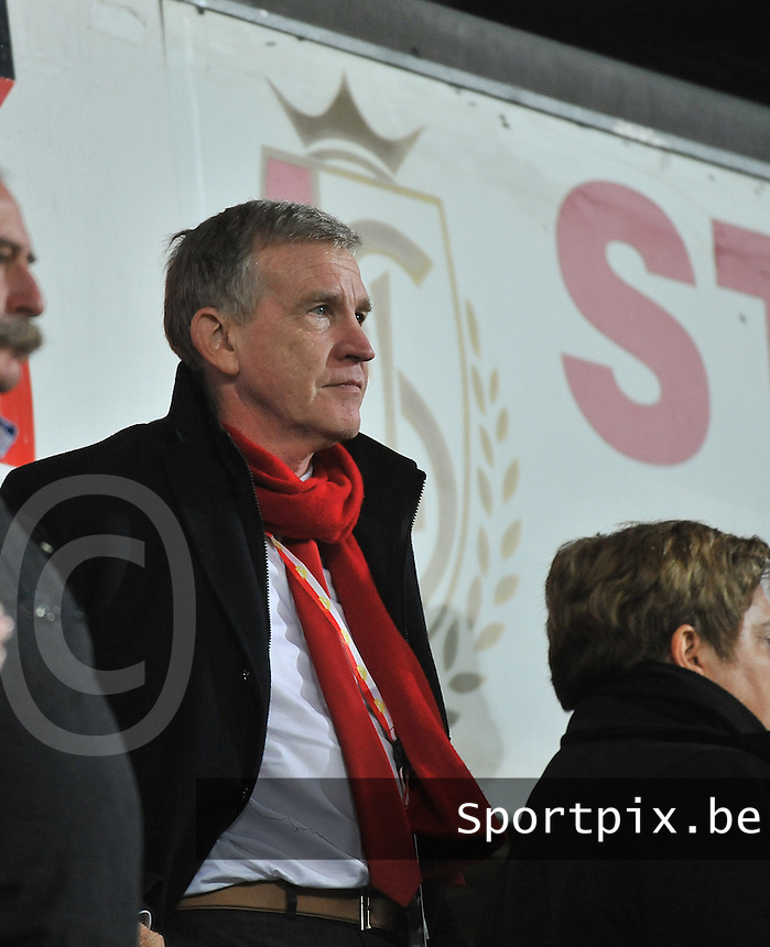 20131009 - LIEGE , BELGIUM : Standard's chairman Roland Duchatelet pictured during the female soccer match between STANDARD Femina de Liege and  GLASGOW City LFC , in the 1/16 final ( round of 32 ) first leg in the UEFA Women's Champions League 2013 in stade maurice dufrasne - Sclessin in Liege. Wednesday 9 October 2013. PHOTO DAVID CATRY