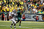 09/17/11-- Oregon wide receiver Rashaan Vaughn makes a reception over Missouri State's Ryan Heaston at Autzen Stadium in Eugene, Or....Photo by Jaime Valdez. ..............................................