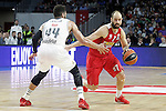 Real Madrid's Jeffery Taylor (l) and Olympimpiacos Piraeus' Vassilis Spanoulis during Euroleague match. January 28,2016. (ALTERPHOTOS/Acero)
