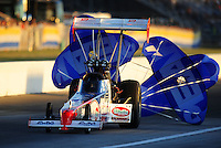 Sept. 4, 2010; Clermont, IN, USA; NHRA top fuel dragster driver T.J. Zizzo during qualifying for the U.S. Nationals at O'Reilly Raceway Park at Indianapolis. Mandatory Credit: Mark J. Rebilas-