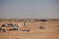 Tunisie Camp UNHCR de refugies libyens a la frontiere entre Tunisie et Libye ....Tunisia UNHCR refugees camp  Tunisian and Libyan border  Campo profughi alla frontiera libica dopo tempesta di vento  After wind storm Apres tempete de vent