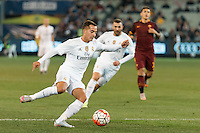 Melbourne, 18 July 2015 - Lucas Vazquez of Real Madrid kicks the ball in game one of the International Champions Cup match at the Melbourne Cricket Ground, Australia. Roma def Real Madrid 7-6 Penalties. Photo Sydney Low/AsteriskImages.com