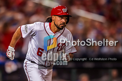 6 October 2017: Washington Nationals third baseman Anthony Rendon hustles to first during the first game of the NLDS against the Chicago Cubs at Nationals Park in Washington, DC. The Cubs shut out the Nationals 3-0 to take a 1-0 lead in their best of five Postseason series. Mandatory Credit: Ed Wolfstein Photo *** RAW (NEF) Image File Available ***