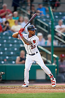 Rochester Red Wings center fielder Byron Buxton (25) at bat during a game against the Lehigh Valley IronPigs on June 30, 2018 at Frontier Field in Rochester, New York.  Lehigh Valley defeated Rochester 6-2.  (Mike Janes/Four Seam Images)