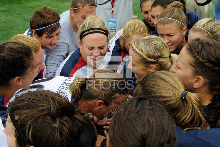 The United States (USA) team huddles before the start of the game. The United States (USA) Women's National Team defeated Canada (CAN) 1-0 during an international friendly at Marina Auto Stadium in Rochester, NY, on July 19, 2009.