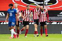 Sheffield United's David McGoldrick celebrates scoring the opening goal with Oliver McBurnie<br /> <br /> Photographer Alex Dodd/CameraSport<br /> <br /> The Premier League - Sheffield United v Chelsea - Saturday 11th July 2020 - Bramall Lane - Sheffield<br /> <br /> World Copyright © 2020 CameraSport. All rights reserved. 43 Linden Ave. Countesthorpe. Leicester. England. LE8 5PG - Tel: +44 (0) 116 277 4147 - admin@camerasport.com - www.camerasport.com