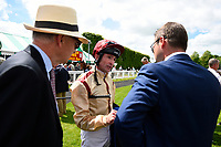 Dane O'Neil talks through the race after winning The Bathwick Tyres Novice Auction Stakes(plus 10, Div 1) on Initiative during Afternoon Racing at Salisbury Racecourse on 13th June 2017